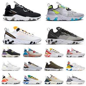 Epic React Vision Sport Laufschuhe für Herren Womens Black Iriredescent Worldwide Pack White Element 55 Script Oliven-Trainer Sneakers 36-45