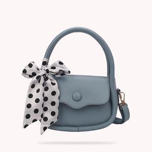Designer- Bags Female Pure Color Messenger Bag PU Leather Fashion Top-handle Silk Scarf Handbag Girls Brief Women Casual