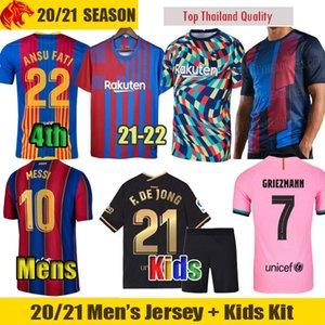 20 21 22 FC Barcelona Soccer Jerseys GRIEZMANN 2021 2022 MESSI Barca F.DE JONG Mens Jersey Kids Kit BRAITHWAITE COUTINHO ANSU FATI Football Shirt