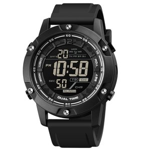 SKMEI Strong Waterproof 100M Sport Digital Army Mens Watch Silicone Strap Stopwatch LED Electronic Wrist Male Black
