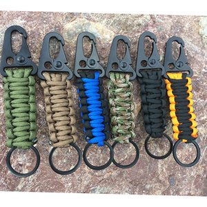 EDC Paracord Rope Keychain Outdoor Camping Survival Kit Military Parachute Cord Emergency Knot Key Chain Ring Camping Carabiner
