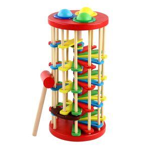 Ahşap merdiven vurma oyuncak öğrenme renk topu ve çekiç eğitimi ile dokunmadan bebek bilek gücü 830 v2