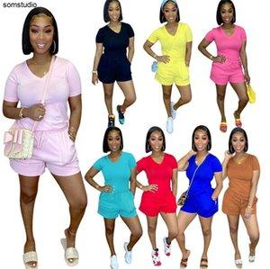 Women Designers Clothes 2021 Ladies Tracksuits Summer Casual Suit Popular V-neck Shorts Suit Pocket Shorts Two Piece Suit 03