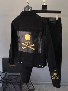 Trendy men's suit autumn and winter new skull print jeans tannin slim fit Lapel denim jacketylr