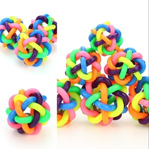 5cm Colorful Rainbow Pet Bell Ball Dog Toy Cat Toys Pet Dog Ball Bell Chew Toys Play Teeth Training Pet Product ok yas 223 V2
