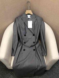 Vestido 2021 Primavera Diseño de lujo Virgin Wool ELASTHANE DOUBE DOUTE CUBIERTADO CUBIERTO DE ESTILO DE LA RODILLA