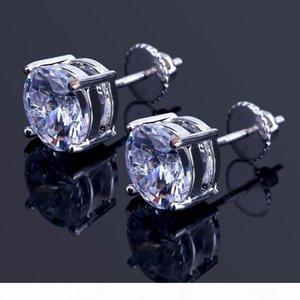 8mm Hip Hop Stud Earrings Silver Gold Plated CZ earring mens womens earing ear ring Women Men designer earings luxury Jewelry Gifts