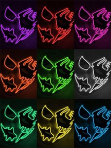 EL Wire Mask LED Purge Mask Glowing LED Light Up Funny Items Hand Painted for Festival Halloween Costume Cosplay Party Supplies