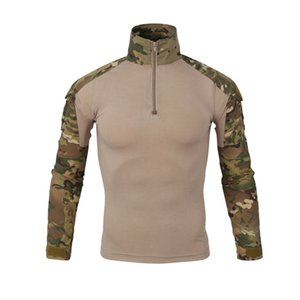 Men Tactical Combat Shirt Camouflage Long Sleeve Zipper Casual Hunting Fishing Cycling Tops Clothes Outwear Sports Paintball Airsoft Shirts