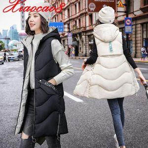 Frauen Westen Herbst Winter plus Größe Baumwolle mit Kapuze helllose Jacke Mäntel fester Reißverschluss Lange Weste Weste 3XL Dicke Gilet Femme Frauen