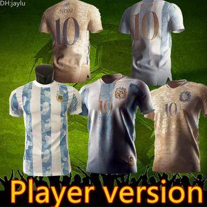 2021 22 Argentina Player Version Messi Soccer Jerseys Di Maria Higuain ICARDI DYBALA Футболка Aguero Lautaro Maillot Мужчины