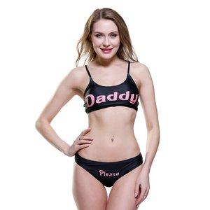 Costume da bagno Lettera Stampa Split Bikini