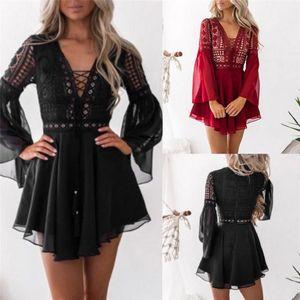 Casual Dresses Low-waist V-neck Long Sleeve Crochet Lace Dress Black Hollow White Sexy Women's Mini Chiffon Semi-Perspective Plaid