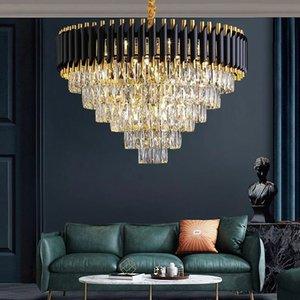 Living Room Luxury lamp Black Metal K9 Crystal E14 Led Pendant Lights Chain Hanging Indoor Lighting Fixture