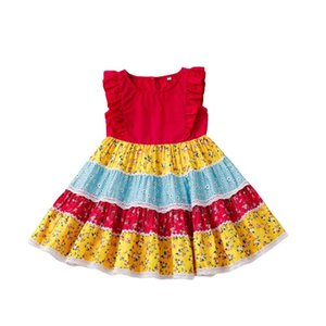 Girl's Dresses Children's Clothing Floral Print Princess Dress Girls Sleeveless O-neck High Waist A-line Summer Toddler Baby Girl Clothes