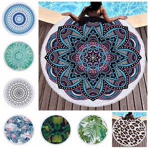 Round Beach Towel Indian Mandala Tapestry Microfiber Bath Towels Summer Women Shawl Yoga Mat with Tassel Picnic Rugs 39 Colors YFA2910