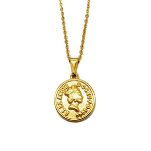 Vintage Gold British Elizabeth Queen Avatar Colgante Collar Colgante de acero inoxidable Money Corner Moneda Redondo Joyería Collares