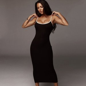 Sexy Women Clothes Summer Dress Fashion Slim Bodycon Club Party Long Dresses White Black Spaghetti Strap Elastic Knitted Dress 210324