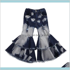 2020 Baby Clothing Toddler Kids Children Girl Clothes Bell Bottom Pants Flare Denim Jeans Layered Hole Trousers 2-7T K Ou7I0