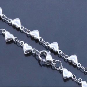 22cm Stainless Steel Peach Heart Anklet Love Women Fashion Jewelry Anklets Sliver Simplicity Versatile 1 5rx Q2