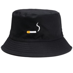Cloches Personality Streetwear Cigarette Embroidery Bucket Hat For Men Women Hip Hop Fisherman Adult Panama Bob Lovers Flat