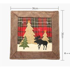Christmas Throw Pillow Case Covers Buffalo Plaid Xmas Tree Reindeer Cushion Cases Home Sofa Decorations 36cm FWE9981