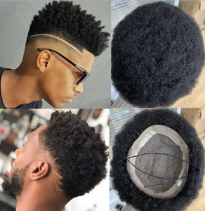 Mens Wig Hairpieces 4mm Afro Curl Mono PU Toupee 8mm Wave Brazilian Virgin Human Hair Replacement for Black Men Fast Express Delivery
