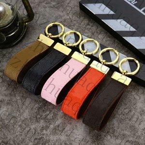 Official Original Luxury designer Car leather keychain straps fashion female mens cute long high quality golden key Chain Pattern Metal Pendant Bag Decoration