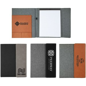 """7"""" x 9"""" Laserable Leatherette with Gray Canvas Portfolio with Notepad"""