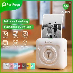 PeriPage A6 Portable Thermal Bluetooth Po Printer 203dpi Picture Label For Android Mobile Mini Wireless Printers