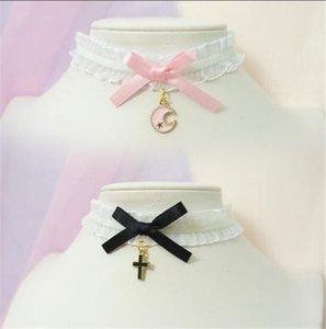 Süßer Kreuz Anhänger Bowknot Choker Harajuku Niedliche Lolita-Ribbon-Kette Cosplay Frauen Halskette Halskette Halswäsche Chokers