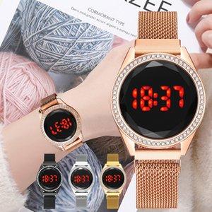 50pcs Fashion Women Magnetic Quartz Wristwatch Rose Gold Red LED Digital Bracelet Watch Wrist Ladies Dress Clock