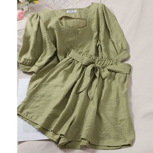 Women's Tracksuits Thin female summer short shorts Korean style square neck swollen upper sleeve high waist wide leg of two parts X3HX