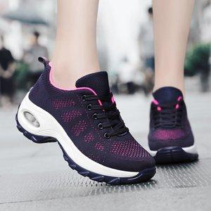 Takozlar Sneakers Kadınlar Koşu Ayakkabıları 2021 Platformu Ayakkabı Kadın Sneakers Dantel-up Mesh Nefes Rahat Ayakkabılar Kadın Sneakers