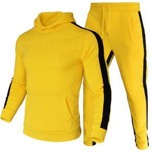 Brand Fashion Designer 2 Pieces Sets Tracksuit Men Soild Fleece Warm Hooded Sweatshirt+Pants Pullover Hoodie Sportwear Suit Size S-3XL