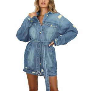 Women Jean Jackets Fashion Long Washed Denim Coats Ripped Long Sleeve Jeans Jacket Oversize Outfits 2021
