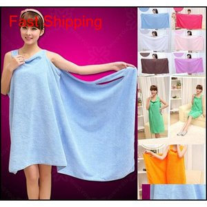 El Supplies Home & Gardensolid Color Lady Girls Spa Shower Towel Body Wrap Robe Magic Girl Wearable Bathrobes Bath Skirt Drop Delivery 2021
