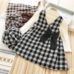 Girls princess clothing sets kids high collar puff sleeve bottoming shirt+Bows plaid vest dress+lattice hat 3pcs winter children outfits Q2257