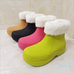 PVC Thick Sole Wool Rain Boots Women Round Toe Waterproof Warm Ankle Botas Female Winter Candy Color Snow Boots Platform Shoes