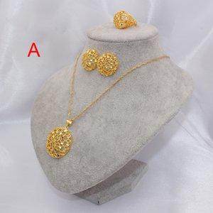 Äthiopien 18 Karat Gold Farbe Dubai Schmuck Sets Frauen Afrikanische Hohlpartei Hochzeit Halskette und Ohrringe Ring Sets 45cm Anhänger Geschenke