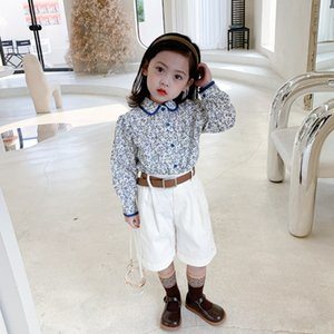 2021 Spring Autumn Girls Chinese Retro Floral Shirt Childrens Comfortable Shirt With Lapel Kids Casual Shirt 2-8Y