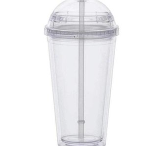 20oz Clear Straw Tumbler Outdoor With Bottle Drinking Double Acrylic Lid Dome Wall Plastic Leakage-proof Cup Water OWD7288