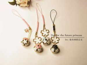 chainDCC Cherry Blossom bell key ring simple and fresh niche bag U disk mobile phone pendant lovers lost