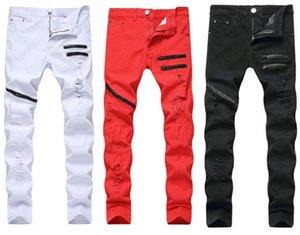 Мужские джинсы разорванные отверстия прямой бренд джинсовой ткани с контрастным цветом на молнии мужские брюки тонкие брюки