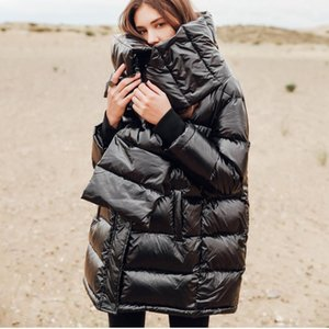 Glossy Puffer Coat Winter Clothing Warm 2021 Thicker Loose Scarf Black Mid Long Outwear Female White Duck Down Jacket Women Tops Women's & P