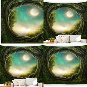 3D Nature Tree Art Hole Large Carpet Wall Hanging Mattress Bohemian Rug Blanket Camping Tent Fantasy Forest Printing Tapestry 485 R2