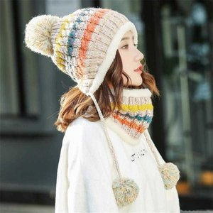 New Winter Women Pompom Hat And Scarf Set Girls Plus Velvet Warm Beanie Cap Female All-match Winter Casual Thick Knitted Hats 2 Pieces Set