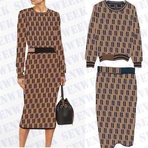 Jacquard Letter Womens Maglierino Camicia Dress Abito Due pezzi Set Moda Casual Manica lunga Magliette per autunno e inverno