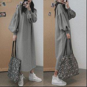 ZANZEA Vintage Womens Dress Puff Sleeve Sweatshirt Autumn SweatshirtsSolid Split Maxi Vestidos Female O Neck Robe Plus Size 7