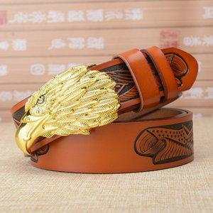 Gold Eagle head Buckle Belt for men Genuine Leather Man belts Brand Cowskin Fashion Vintage Male Strap High-grade Gift Luxury